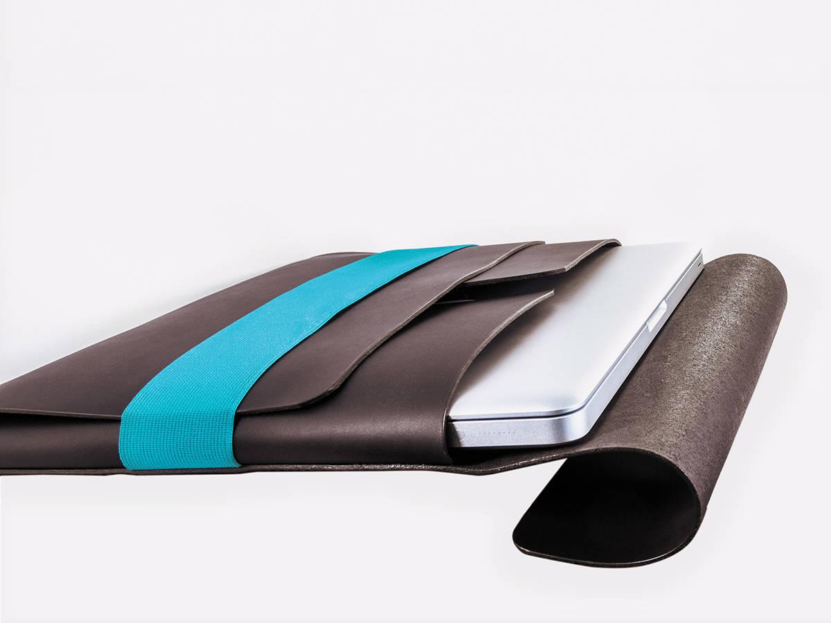 slide-Tasche Liegend Braun Turkis